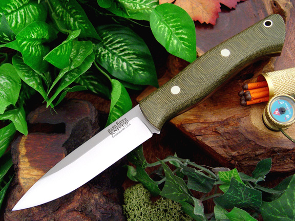Bark River Aurora Green Canvas Micarta