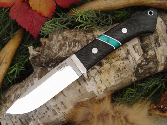 Bark River Drop Point Hunter BCM Jade Malachite Spacer