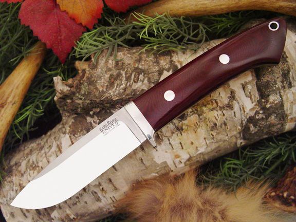Bark River Drop Point Hunter Maroon Linen Micarta