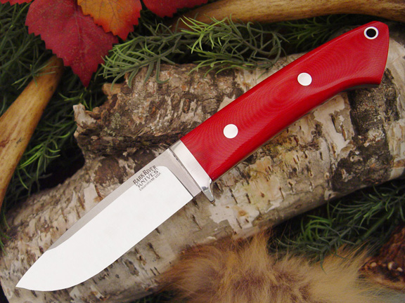 Bark River Drop Point Hunter Red Linen Micarta