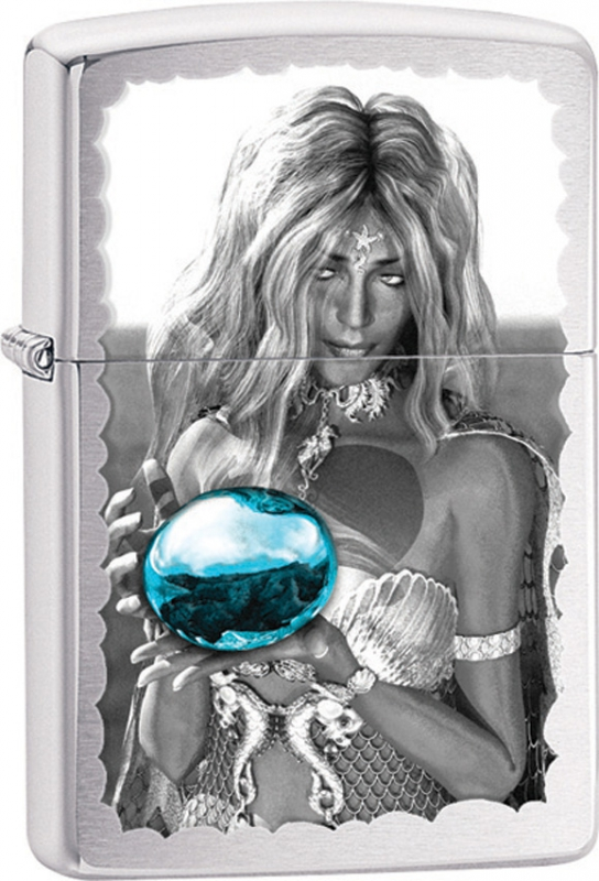 Зажигалка Zippo №28651 Mermaid and Blue Orb Brushed Chrome